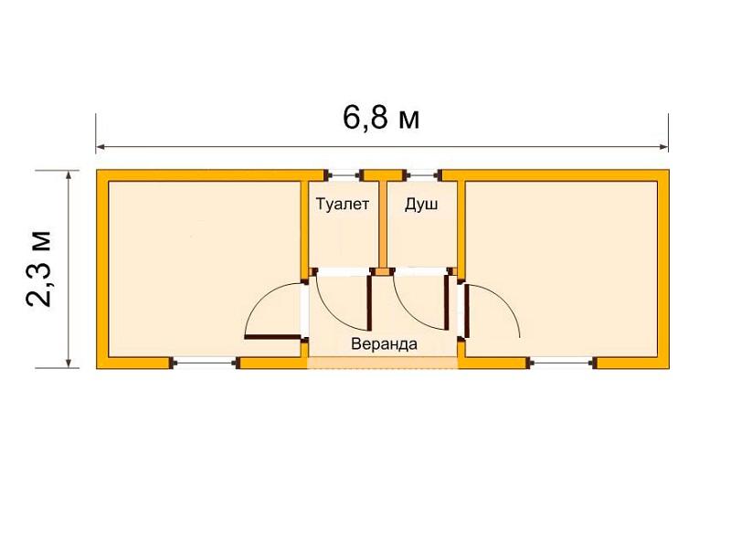 Двухкомнатная бытовка 6,8x2,3м